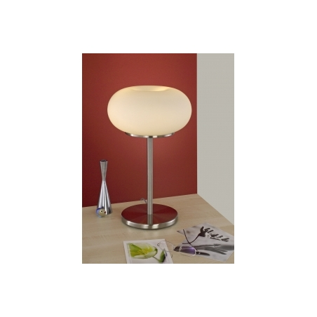 ... Eglo 86816 Optica 2 Light Modern Table Lamp Opal And Nickle Matt  Finish. U2039