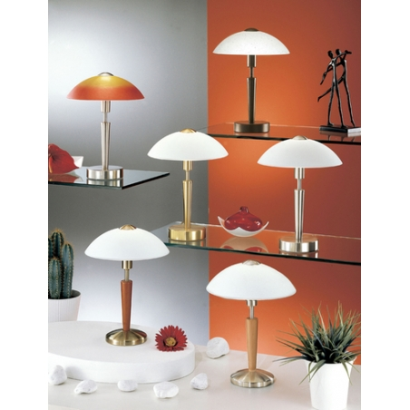 Eglo 87256 solo1 1 light modern table lamp domed white frosted eglo 87256 solo1 1 light modern table lamp domed white frosted glass shade dark wood effect mozeypictures Image collections