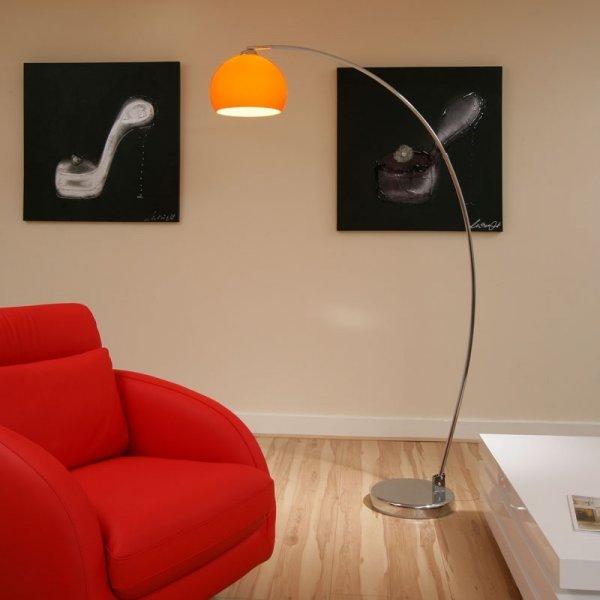 Retro Lighting Lrfloororange 1 Light Modern Floor Lamp Orange And Polished Chrome Retro
