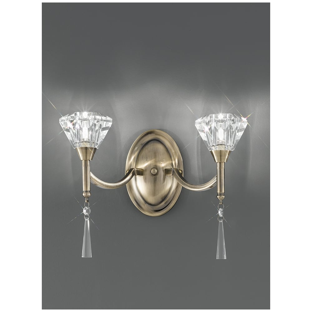 Franklite Crystal Wall Lights : Crystal Wall Light Franklite FL2238/2 Desian 2 Light Wall