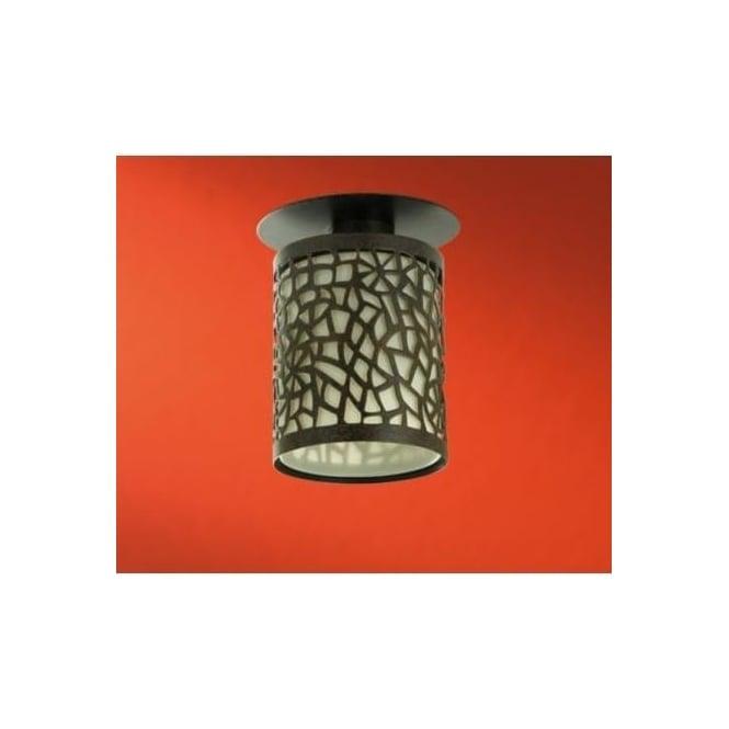 Eglo 89002 Spike 1, 1 light modern flush ceiling light champagne glass antique brown finish