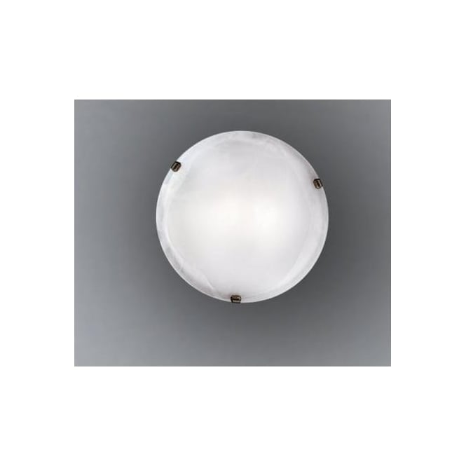 Eglo 7902 Salome 1 light traditional flush ceiling light alabaster glass antique brass finish small