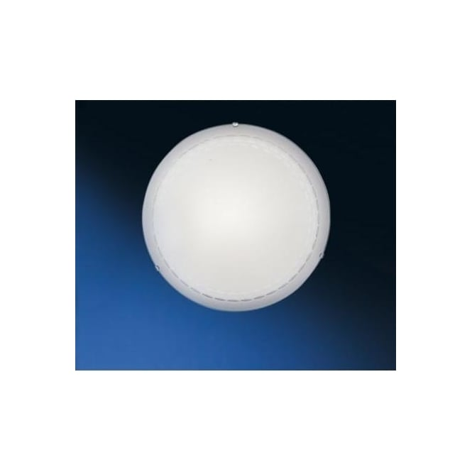 Eglo 82886 Twister 1 light traditional flush ceiling light patterned white frosted glass medium