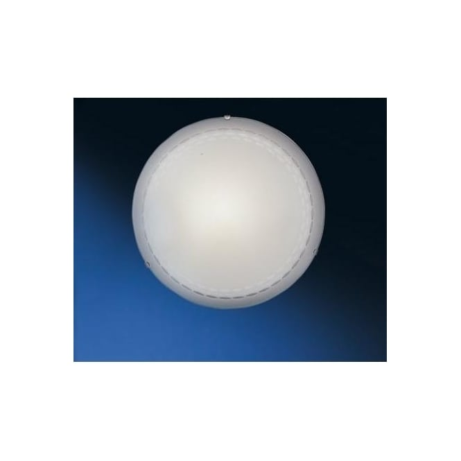 Eglo 86875 Twister 2 light traditional flush ceiling light patterned white frosted glass large