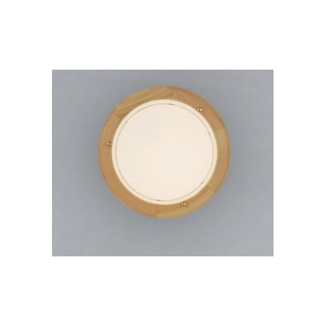 Eglo 3890 UFO1 1 light traditional flush ceiling light white opaque glass pine finish small