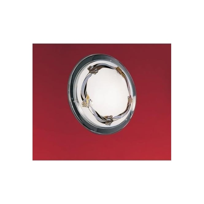Eglo 83197 Planet3 1 light traditional flush ceiling light satin glass floral pattern chrome finish