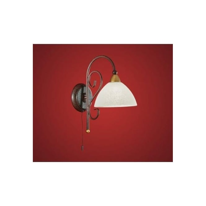 Eglo 85448 Medici 1 light traditional wall light antique brown finish (switched)