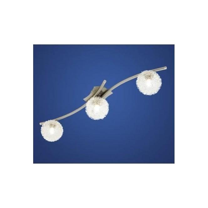 Eglo 90611 Pescara 3 light modern flush ceiling/wall light nickel matt finish with glass shades