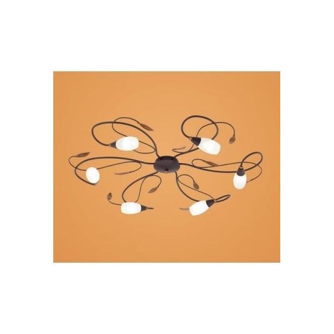 Eglo 90697 Gerbera 1 6 light modern flush ceiling light antique brown/gold finish glass shades
