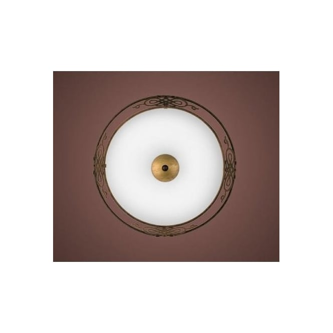Eglo 86712 Mestre 2 light Traditional Ceiling light Flush antique brown and gold finish (medium)