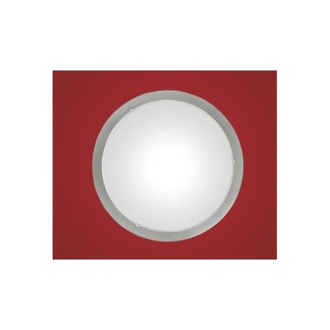 Eglo 82942 Planet 1 light modern wall/ceiling light nickel matt finish with a satinated glass shade
