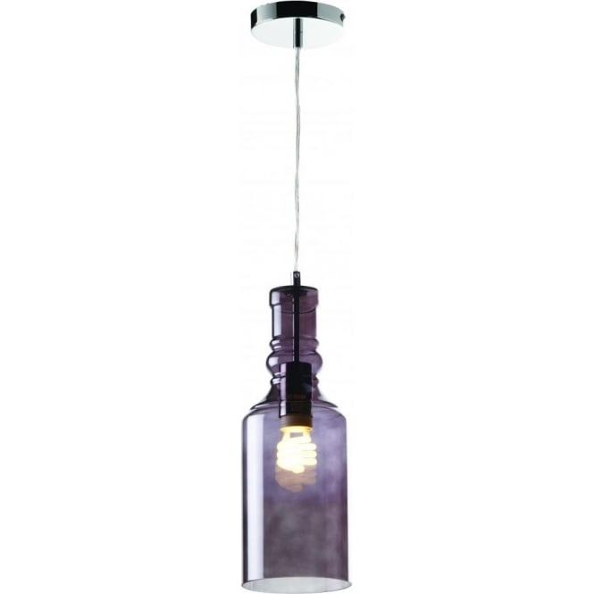 Endon LANCASTER-1SMK Lancaster 1 Light Ceiling Pendant Smoked Glass