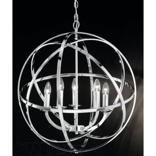 Franklite FL2280/5 Zany 6 Light Ceiling Pendant Polished Chrome