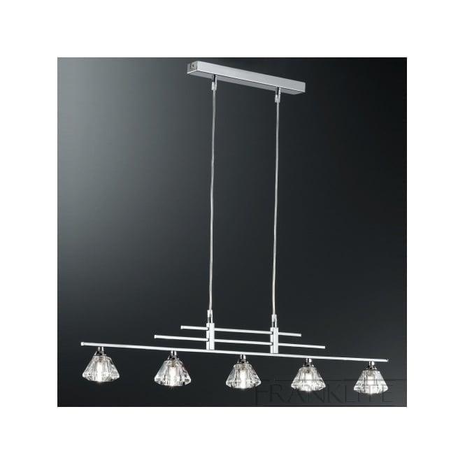 Franklite FL2247/5 Starz 5 Light Crystal Ceiling Pendant Polished Chrome