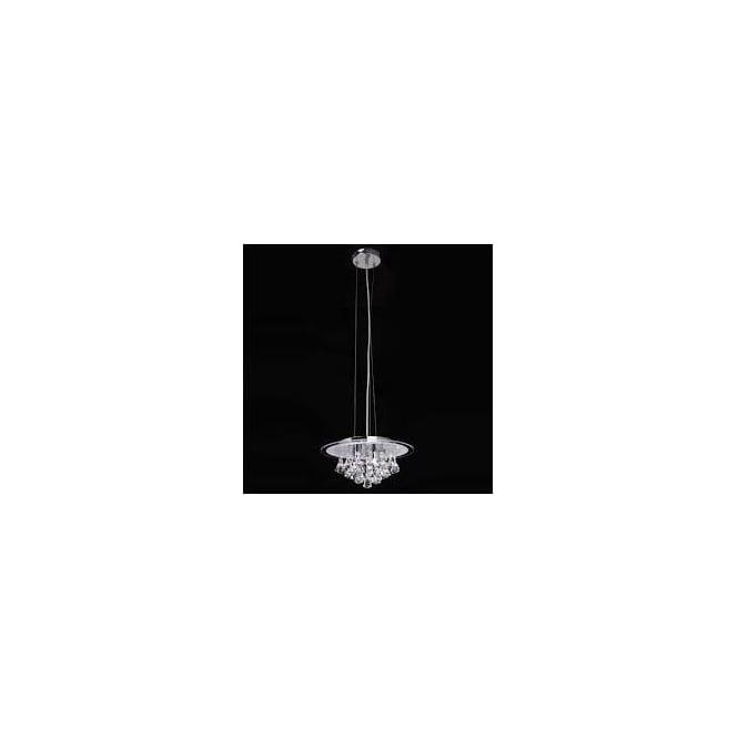 Endon RENNER-5PCH Renner 5 Light Crystal Ceiling Pendant Polished Chrome