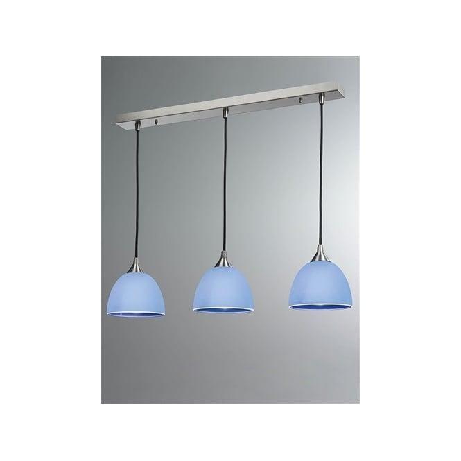 Franklite FL2290/3/943 Vetross 3 Light Ceiling Pendant White/Blue
