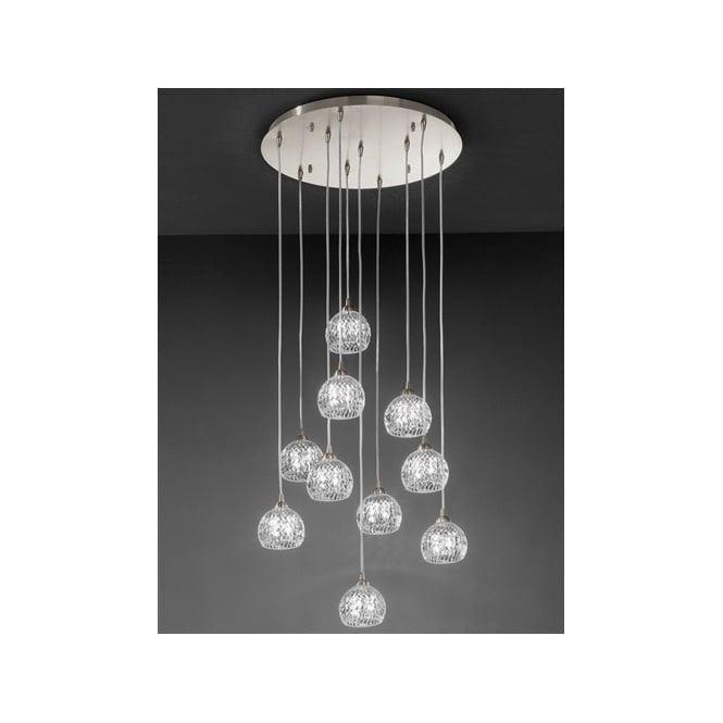 Franklite FL2301/10 Tierney 10 Light Ceiling Pendant Satin Nickel