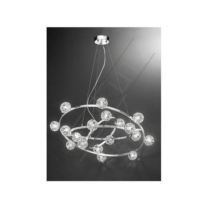 Franklite FL2305/18 Horologica 18 Light Crystal Ceiling Pendant Polished Chrome