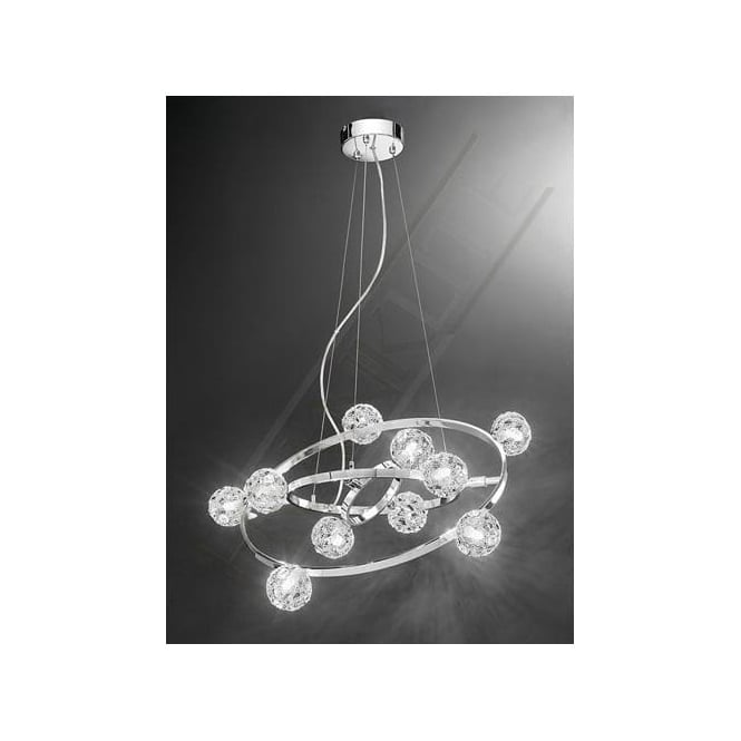 Franklite FL2305/10 Horologica 10 Light Crystal Ceiling Pendant Polished Chrome