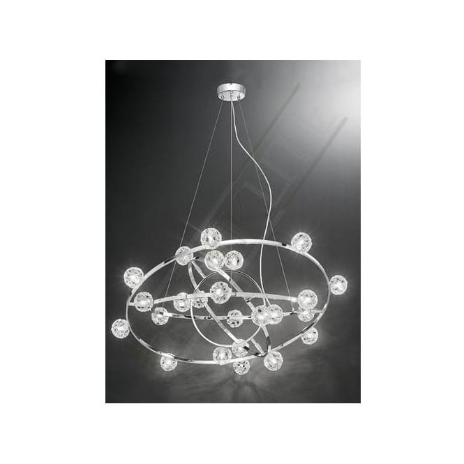 Franklite FL2305/24 Horologica 24 Light Crystal Ceiling Pendant Polished Chrome