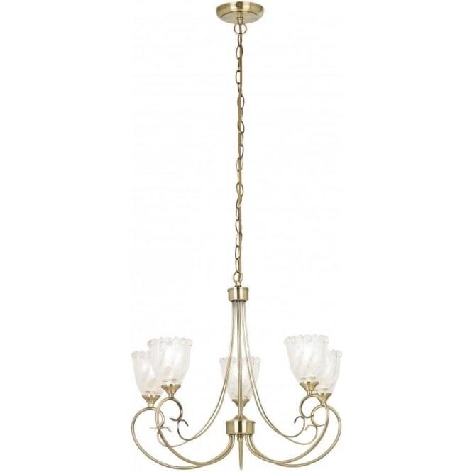 Endon GARNER-5AB 5 Light Ceiling Light Antique Brass