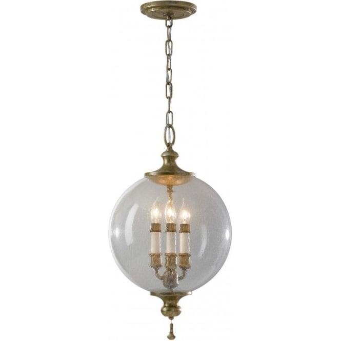 Elstead Lighting Feiss FE/ARGENTO/P Argento 3 Light Ceiling Pendant Oxidised Silver Leaf