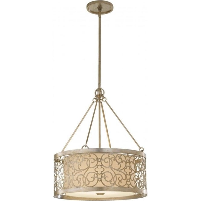 Elstead Lighting Feiss FE/ARABESQUE4 Arabesque 4 Light Ceiling Pendant Silver Leaf Patina