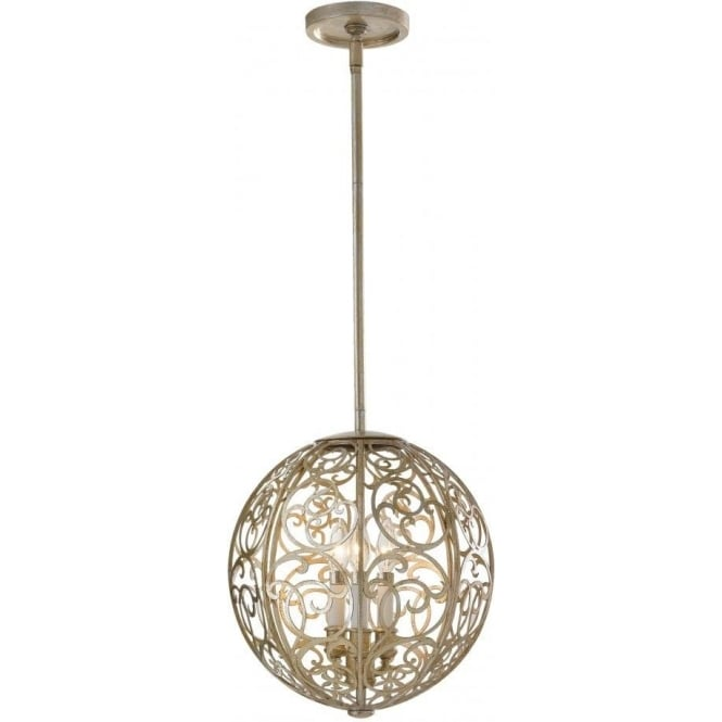Elstead Lighting Feiss FE/ARABESQUE3 Arabesque 3 Light Ceiling Pendant Silver Leaf Patina