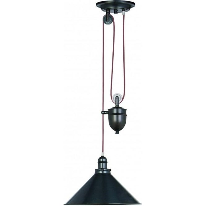 Elstead Lighting PV/P-OB Provence 1 Light Rise and Fall Ceiling Pendant Old Bronze