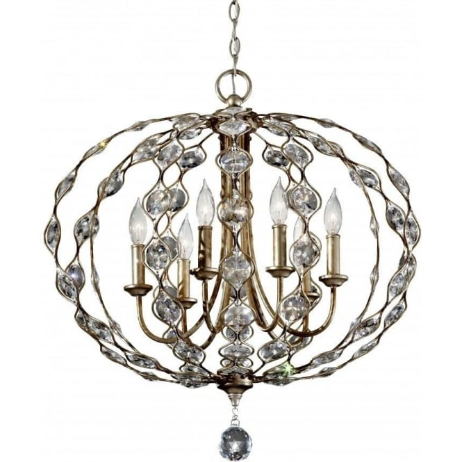 Elstead Lighting Feiss FE/LEILA6 Leila 6 Light Crystal Ceiling Pendant Burnished Silver