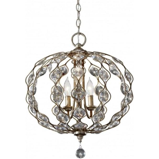 Elstead Lighting Feiss FE/LEILA3 Leila 3 Light Crystal Ceiling Pendant Burnished Silver