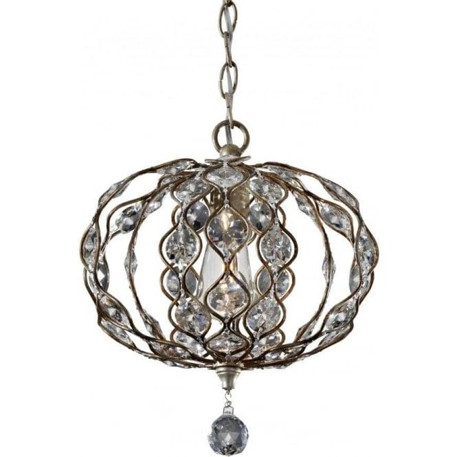 Elstead Lighting Feiss FE/LEILA1C Leila 1 Light Crystal Ceiling Pendant Burnished Silver