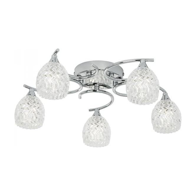 Endon BOYER-5CH Boyer 5 Light Ceiling Light Polished Chrome