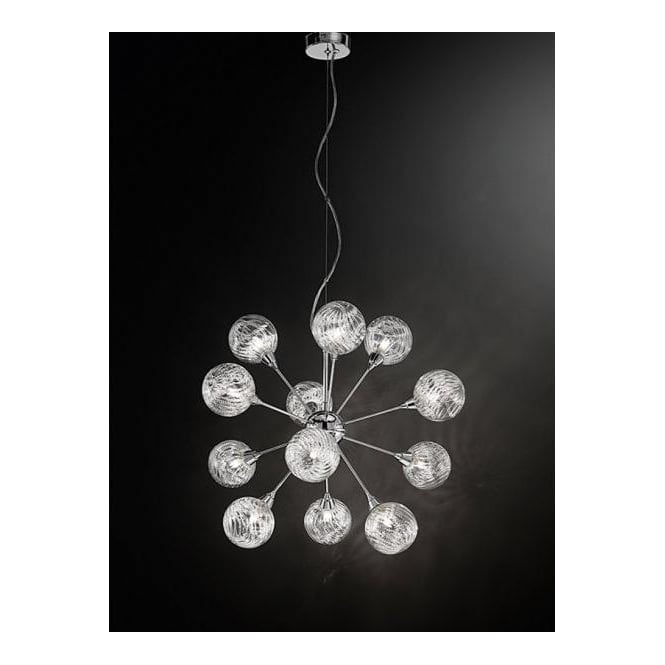 Franklite FL2329/12 Protea 12 Light Ceiling Pendant Polished Chrome