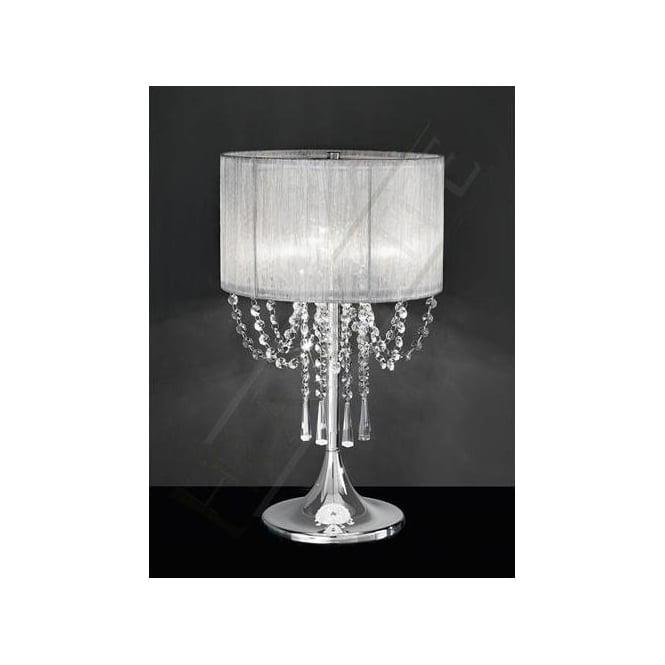 Franklite TL970 Empress 3 Light Crystal Table Lamp Polished Chrome. U2039