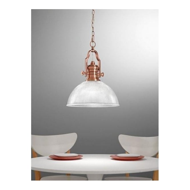 Franklite PCH113/955 Charter 1 Light Ceiling Pendant Antique Copper