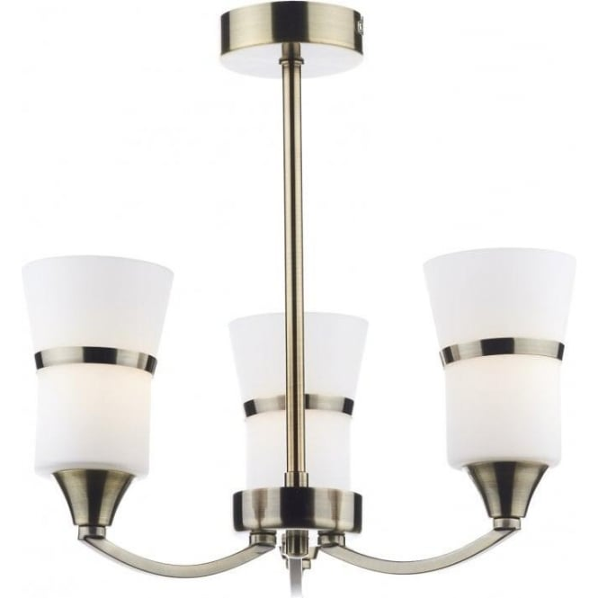 Dar DUB0375/LED Dublin 3 Light Ceiling Light Antique Brass