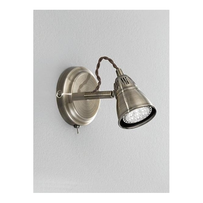 Franklite SPOT8951 Rustica 1 Light LED Switched Wall Spotlight Bronze