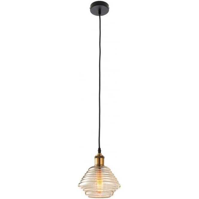 Endon 61355 Williams 1 Light Ceiling Pendant Antique Brass