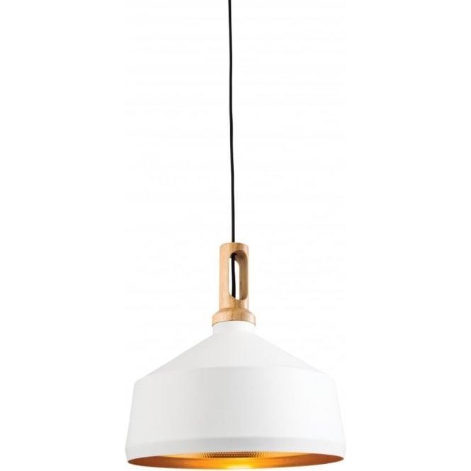 Endon 61352 Garcia 1 Light Ceiling Pendant Matt White/Light Wood