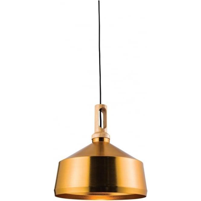 Endon 61353 Garcia 1 Light Ceiling Pendant Brushed Gold/Light Wood