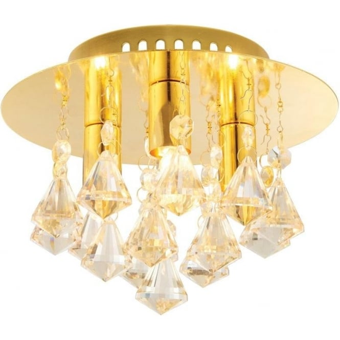 Endon 61244 Renner 3 Light Crystal Ceiling Light Gold