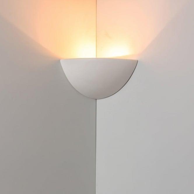 Alfie Lighting 0165STO Stokesley 1 Light Gypsum Corner Wall Light