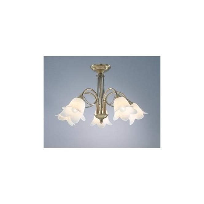 Dar DOU0575 Doublet 5 Light Traditional Ceiling light Antique Brass Finish Complete With Alabaster Glass Shades