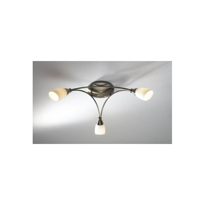 Dar BUR0375 Bureau 3 light modern ceiling light flush fitting antique brass finish with opal glass shades