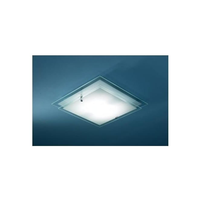 Dar FRA472 Frame 1 light modern ceiling light flush frosted and clear glass finish