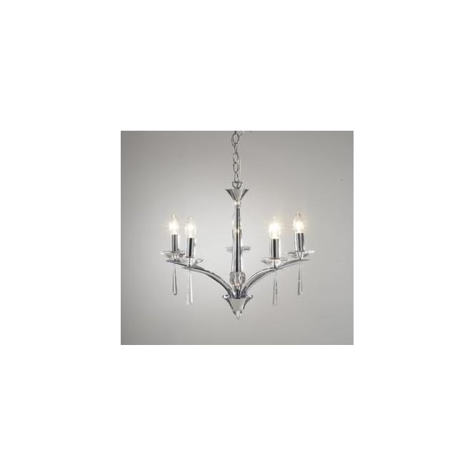 Dar HYP0550 Hyperion 5 Light modern ceiling light pendant Crystal and polished chrome finish