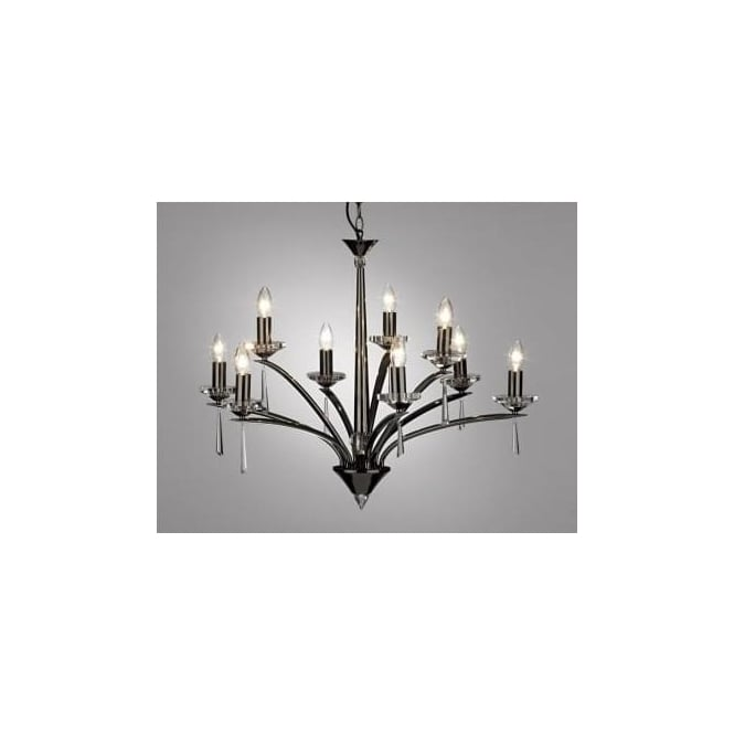 Dar HYP1367 HYPERION 9 LIGHT modern ceiling light pendant crystal and black chrome finish