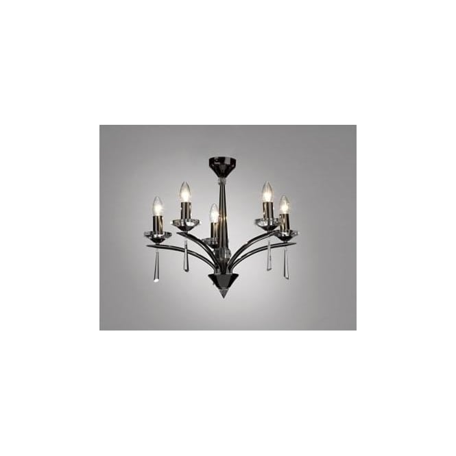 Dar HYP0567 HYPERION 5 LIGHT modern ceiling light pendant BLACK CHROME finish