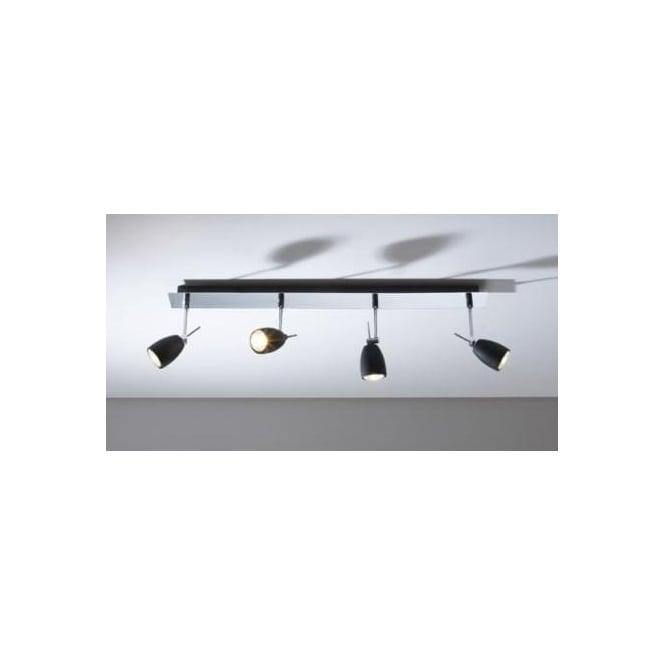 Dar EMP0450 Empire 4 light modern ceiling bar spotlight matt black/polished chrome finish
